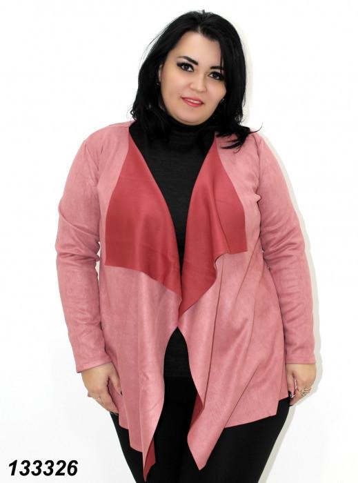 Кардиган розовый женский замшевый, свободный,48,50,52,54,56