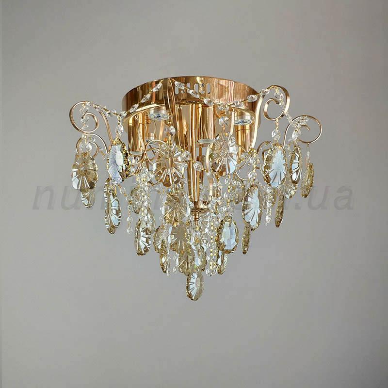 Люстра потолочная на 4 лампы и 4 LED хрустальная 3-E1142/4+4FG