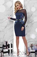 Синее платье облегающего кроя ,верх платья и рукава из сеточки синего цвета по бокам украшенопринтом в виде, фото 1