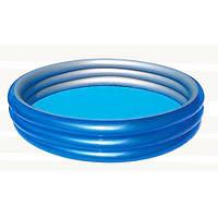 """Надувной бассейн """"Металлик"""" 51041 круглый, 3 кольца, размер 150х53 см ТМ Bestway / Royaltoys"""