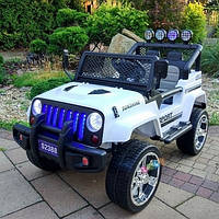 Детский электромобиль Джип Jeep Wrangler M 3237 EBLR-1 белый. Полный привод, 4Х4, EVA, кожа. Разные цвета.