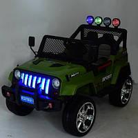 Детский электромобиль Джип Jeep Wrangler M 3237 EBLR-10 хаки. Полный привод, 4Х4, EVA, кожа. Разные цвета.
