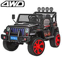 Детский электромобиль Джип Jeep Wrangler M 3237 EBLR-2 черный. Полный привод, 4Х4, EVA, кожа. Разные цвета.