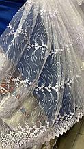 Турецкий фатин с вышивкой 1.60м 1846 белого цвета