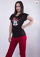 """Женская летняя пижама футболка со штанами """"Минни Маус"""" р.42-50"""
