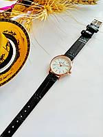 Женские кварцевые наручные часы Patek Philippe (Патек Филип) на кожаном ремешке, красное золото