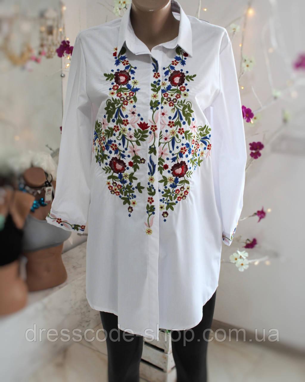 6f3a59d55ac Рубашка вышитая гладью удлиненная белая - Dresscode-shop в Житомирской  области