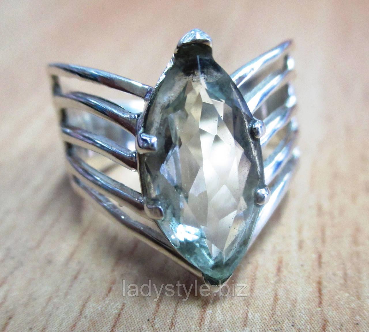 """Изящный перстень """"Маркиза """" с празеолитом , размер 18"""