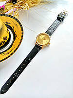Женские кварцевые наручные часы Patek Philippe (Патек Филип) на кожаном ремешке, золото