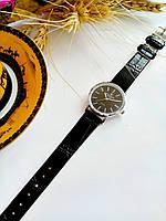 Женские кварцевые наручные часы Patek Philippe (Патек Филип) на кожаном ремешке, серебро, черный циферблат