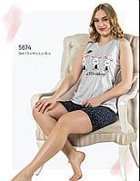 Пижама женская летняя хлопок шорты - майка Fawn 5674