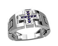 Кольцо серебряное православное Крест 30122