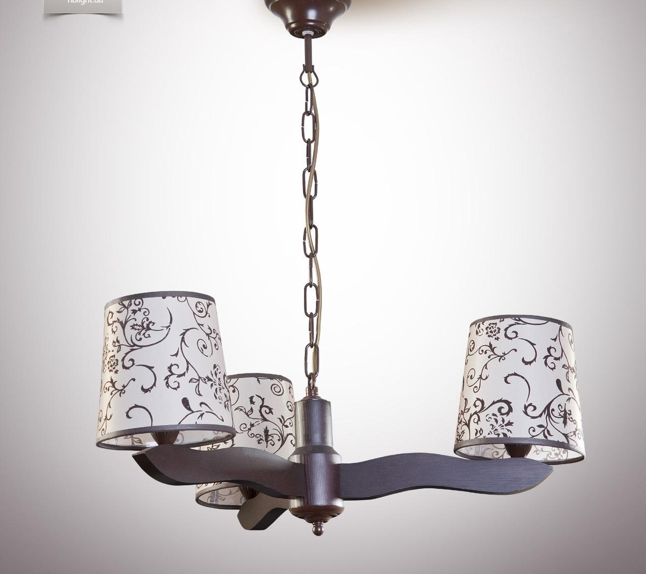 Люстра модерн деревянная с абажурами в цвете венге 6703-4