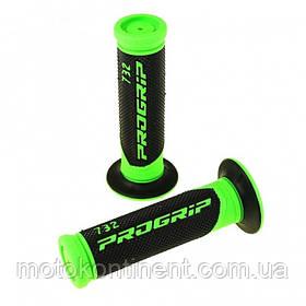 Мото грипсы Pro Grip Duo density на мотоцикл черно-зеленые длина 122 мм / 125мм диаметр 22мм PG 732 GN/BK FLUO