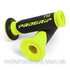 Мото грипсы Pro Grip Duo density на мотоцикл черно-желтые длина 122 мм / 125мм диаметр 22мм PG 732 YL/BK FLUO