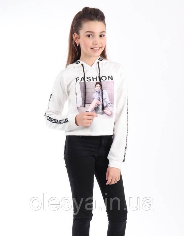 Модная короткая кофта с капюшоном на девочек Размеры 134 140 146
