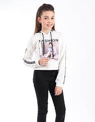 Модная короткая кофта с капюшоном на девочек   Размеры 134- 146