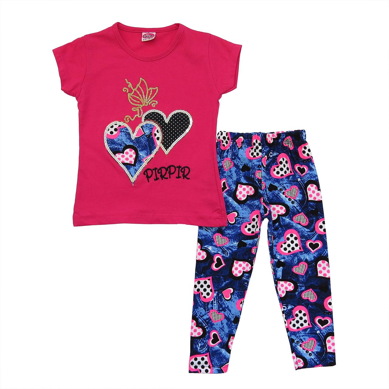 """Летний костюм """"Сердца"""" для девочки. 86, 98, 110, 122 см"""