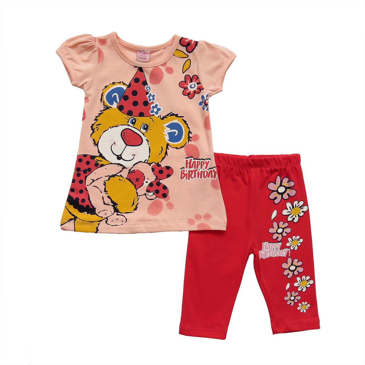 """Летний костюм """"Медвежонок"""" для девочки. 2-3;  3-4;  4-5;  5-6 лет"""