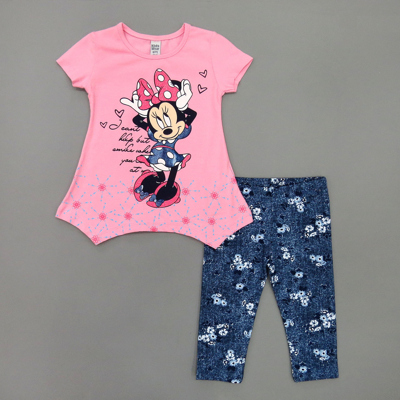 Летний костюм Minnie Mouse для девочки. 98, 104, 110, 116 см