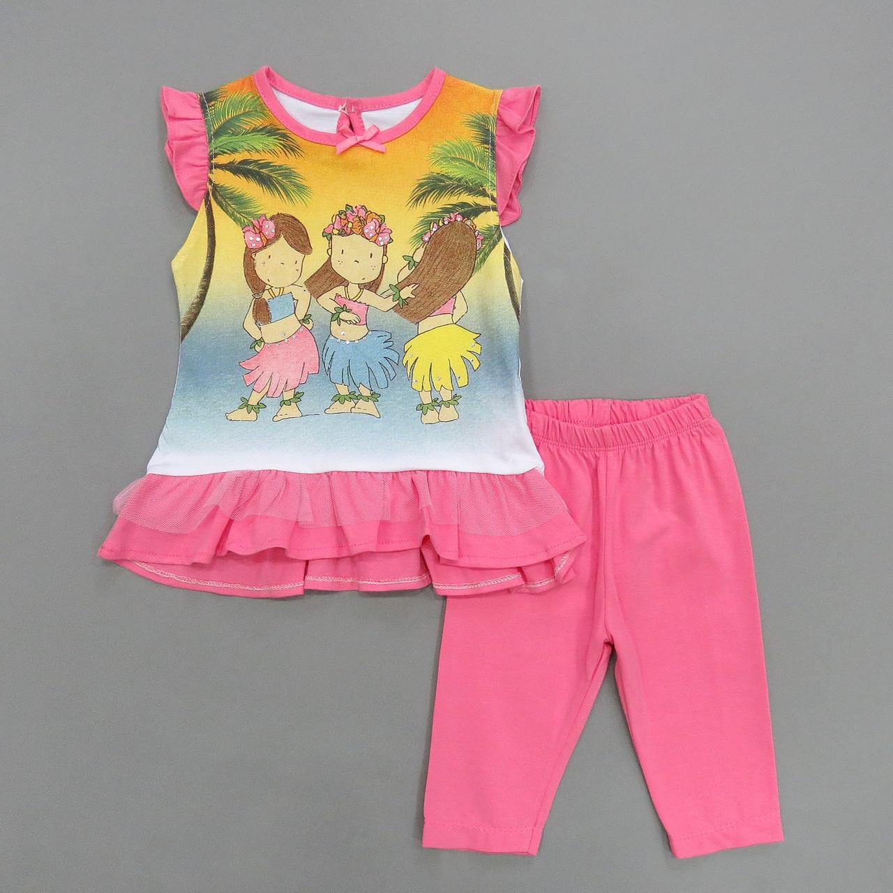 Летний костюм для девочки. 68, 74, 80, 86 см