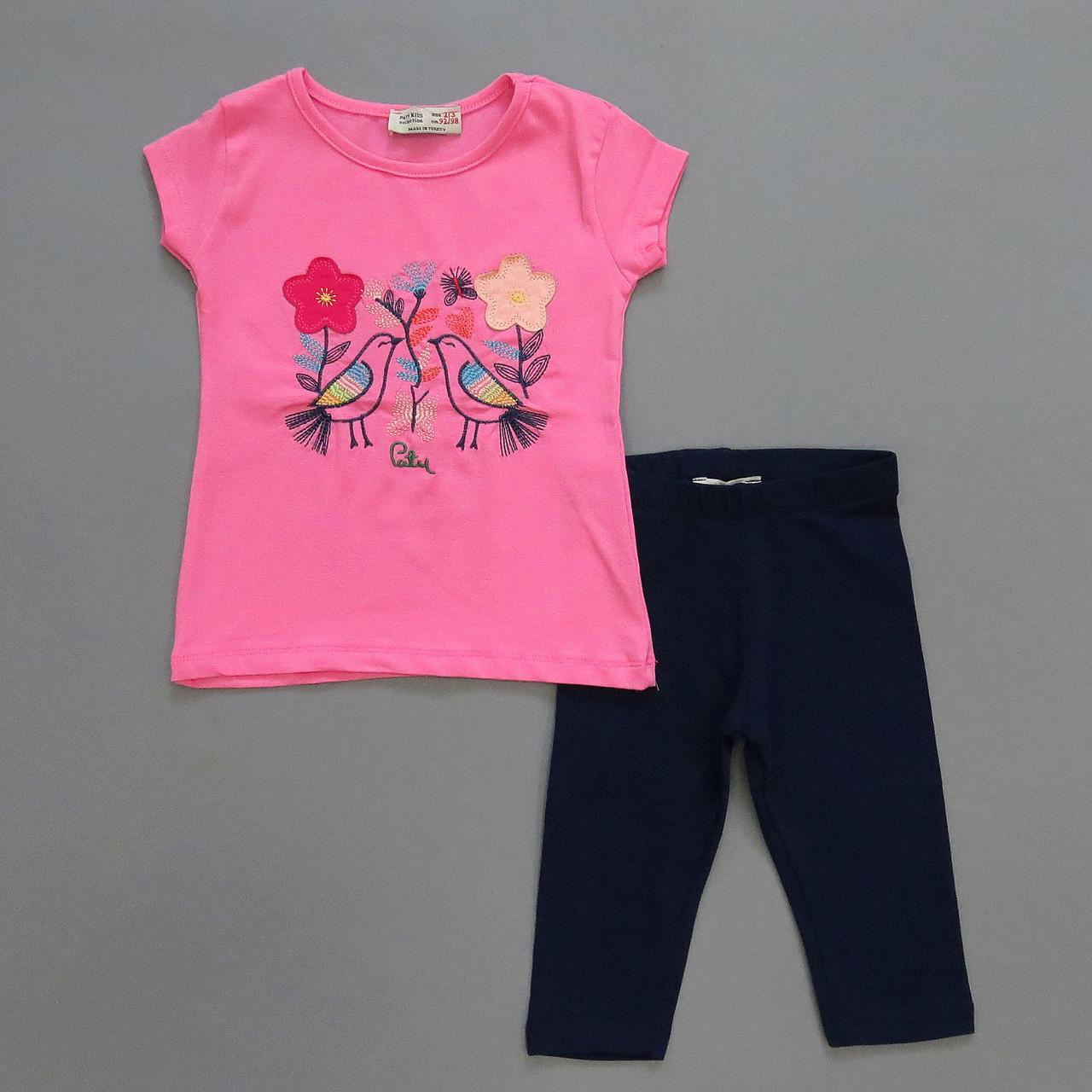 """Летний костюм """"Птички"""" для девочки. 92-98;  98-104;  104-110;  110-116 см"""