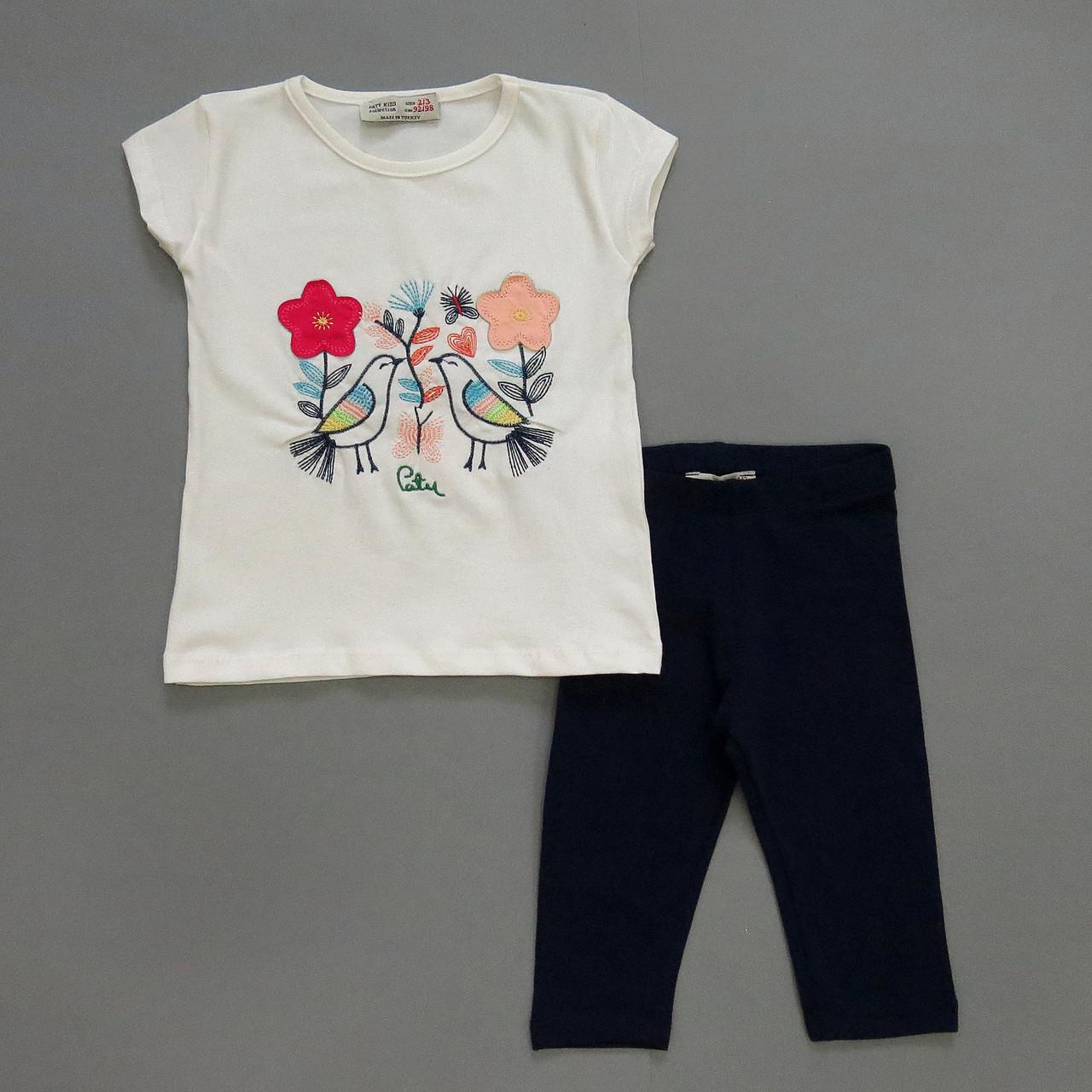 """Летний костюм """"Птички"""" для девочки. 98-104;  104-110 см"""