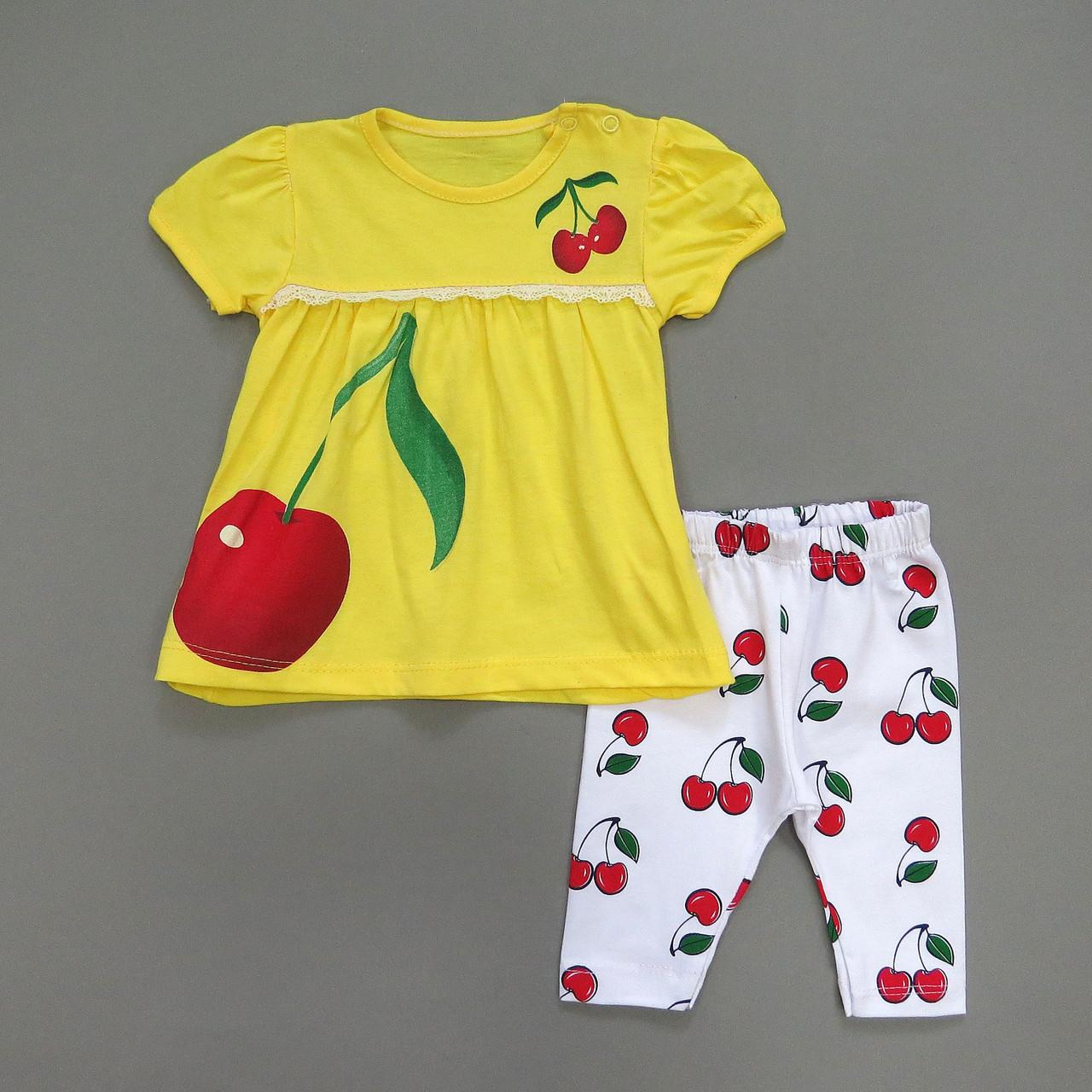 """Летний костюм """"Вишенка"""" для девочки. 80 см"""