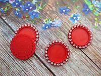 Основа пластиковая (крышечка) для серединки бантика в стразовой оправе, 33/25 мм, цвет красный, фото 1