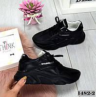 Модные замшевые и кожаные черные женские кроссовки Balenciaga Баленсиага на шнурках