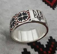 Кольцо с тризубом вышиванка серебро 925, фото 1