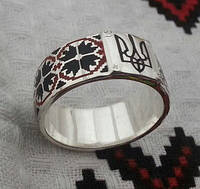 Кольцо с тризубом вышиванка серебро 925