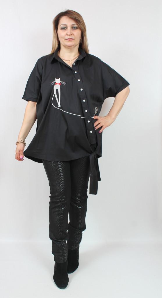Турецкая асимметричная туника-рубашка, больших размеров 58-64