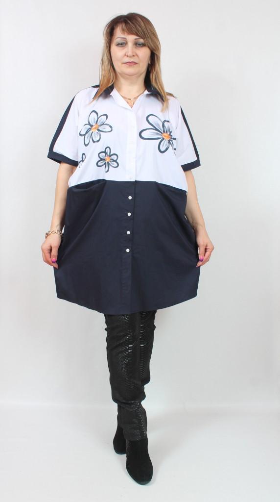 Турецкая женская туника-рубашка с цветочным принтом, больших размеров 56-66