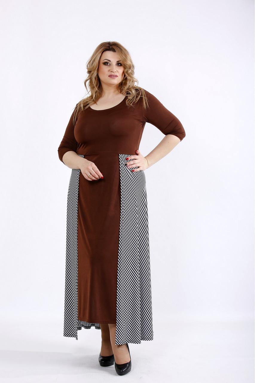 d14f9194f62 Размер 42-74   Женское платье с полосатой юбкой   цвет шоколад - ⭐