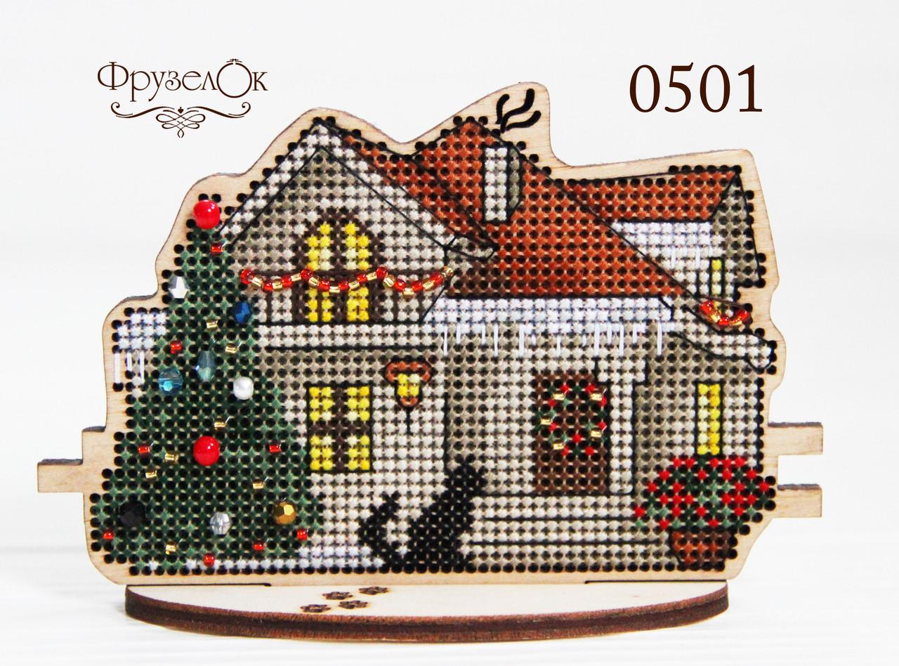 """Набір для вишивання хрестиком на дерев'яній основі """"Зимовий будинок"""""""