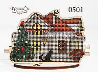 """Набір для вишивання хрестиком на дерев'яній основі """"Зимовий будинок"""", фото 1"""