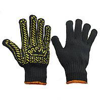 """Перчатки рабочие х/б трикотажные с ПВХ-точкой, вязаные, """"Корона"""", упаковка — 10 пар"""