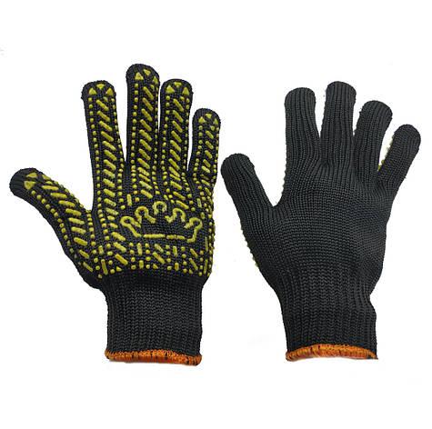 Перчатки рабочие чёрные Корона трикотажные с ПВХ покрытием, фото 2