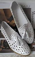 Versace ! Стильные женские белые летние кожаные балетки туфли натуральная кожа, фото 1
