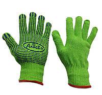 Перчатки рабочие трикотажные Алиско с ПВХ точкой  Польша зелёные