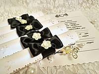 Свадебные пригласительные в свитках Нежность (черные)