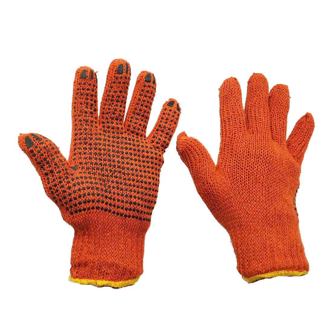 Перчатки рабочие трикотажные с ПВХ точкой  7 класс 2 нити оранжевые