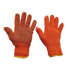 Перчатки рабочие оранжевые трикотажные с ПВХ точкой  7 класс 2 нити оранжевые