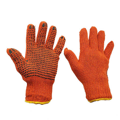 Перчатки рабочие оранжевые трикотажные с ПВХ точкой  7 класс 2 нити оранжевые, фото 2