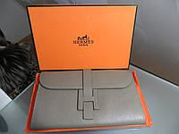 261f1d4ccc5f Женский кожаный кошелек Hermes Original quality цвет серый пудровый