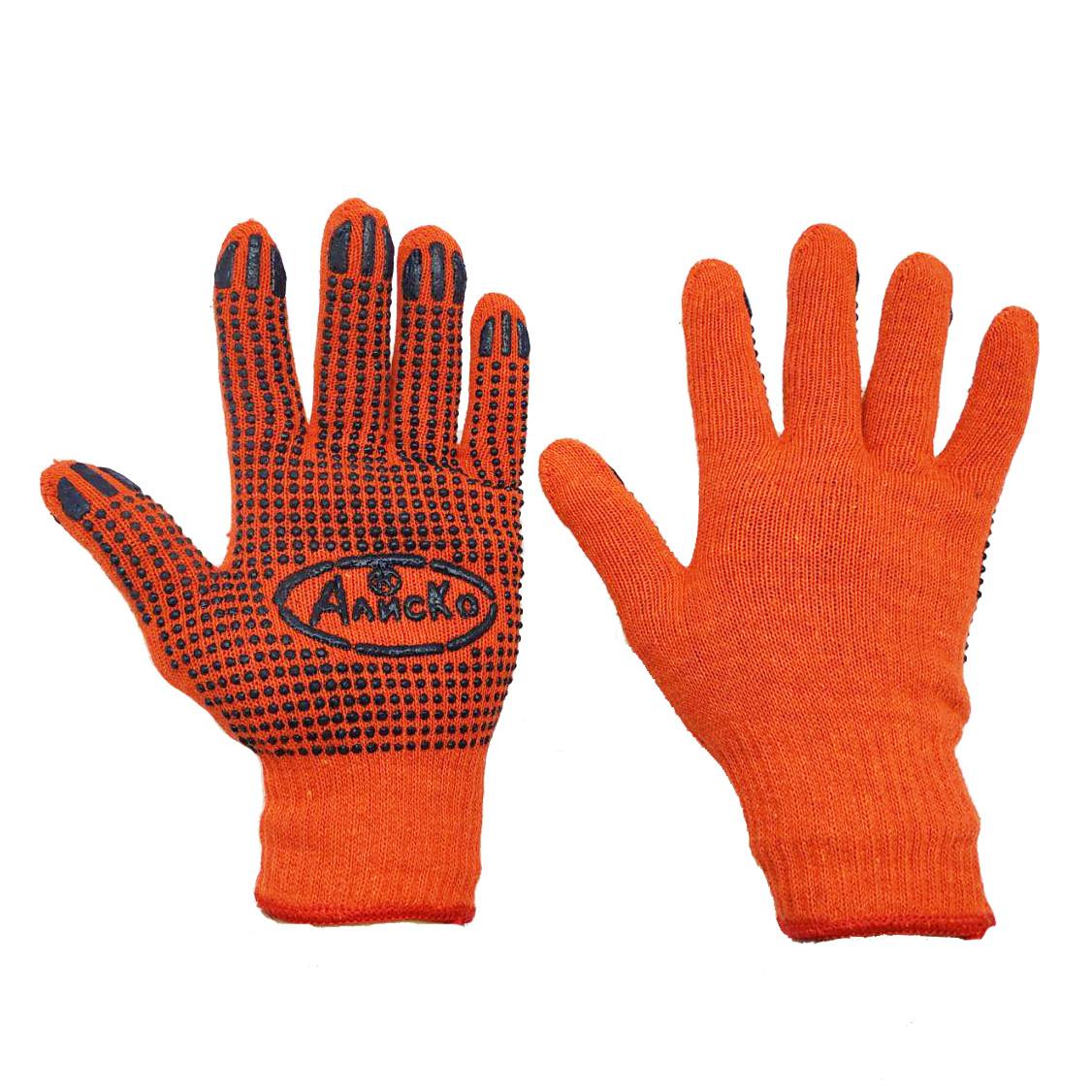 Рукавички робочі трикотажні помаранчеві Алиско з ПВХ крапкою