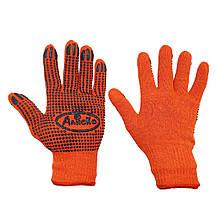 Перчатки рабочие оранжевые трикотажные Алиско с ПВХ точкой