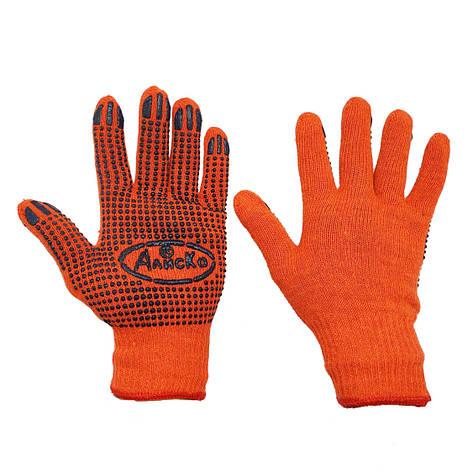 Перчатки рабочие оранжевые трикотажные Алиско с ПВХ точкой, фото 2