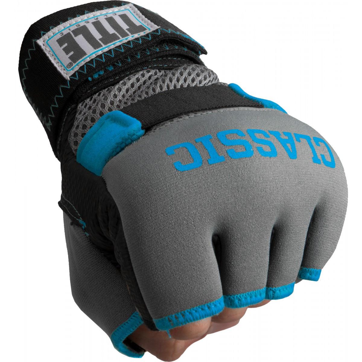 Бинт-перчатки Гелевые TITLE Boxing Classic Gel-X Wraps Серые с синим